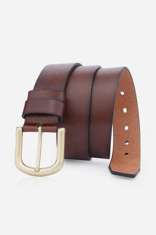 Discount Rectangular Metallic Pin Buckle Fake Leather Belt BROWN