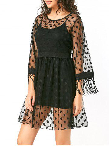 Fashion Polka Dot High Waist Sheer Lace Dress - S BLACK Mobile