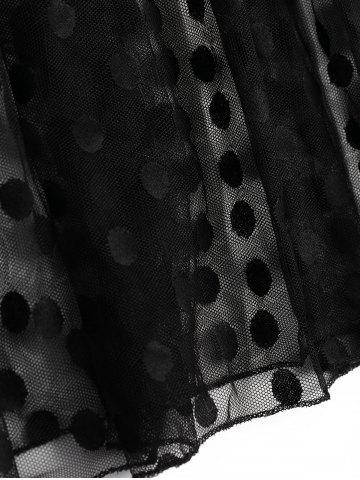 Outfit Polka Dot High Waist Sheer Lace Dress - M BLACK Mobile