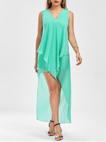 Discount Sleeveless High Low Chiffon Dress - L GREEN Mobile