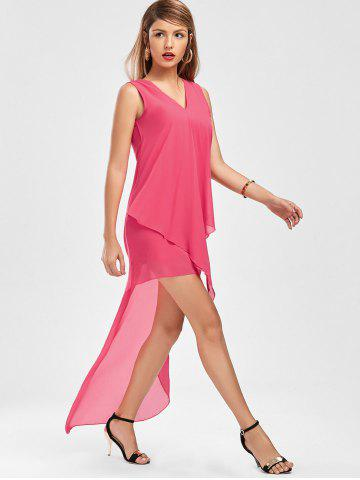 Chic Sleeveless High Low Chiffon Dress - L TUTTI FRUTTI Mobile