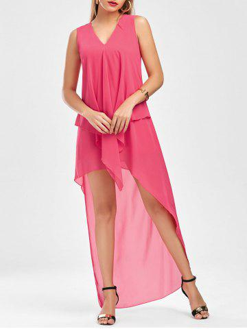 Fashion Sleeveless High Low Chiffon Dress - L TUTTI FRUTTI Mobile
