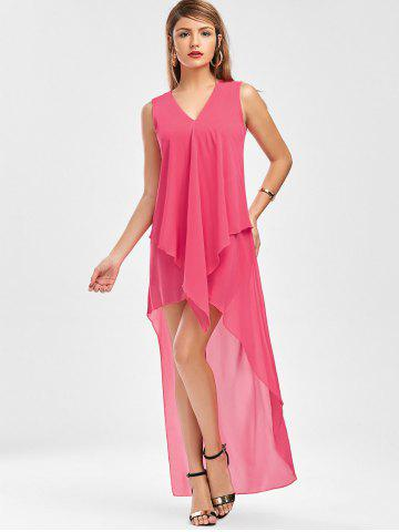 Sale Sleeveless High Low Chiffon Dress - L TUTTI FRUTTI Mobile
