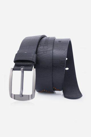 Outfit Artificial Leather Holes Embroidery Pin Buckle Belt BLACK