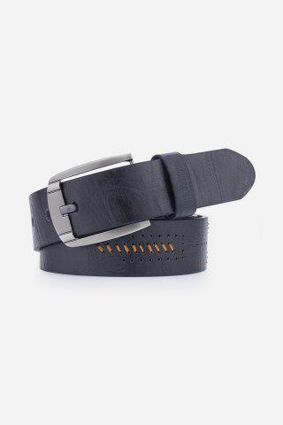 Fancy Artificial Leather Holes Embroidery Pin Buckle Belt - BLACK  Mobile