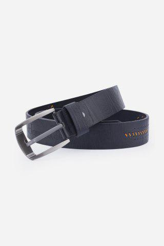 Trendy Artificial Leather Holes Embroidery Pin Buckle Belt - BLACK  Mobile