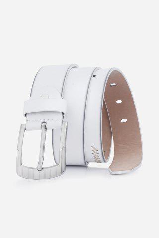 Trendy Pin Buckle Retro Sewing Thread Wide Belt - WHITE  Mobile