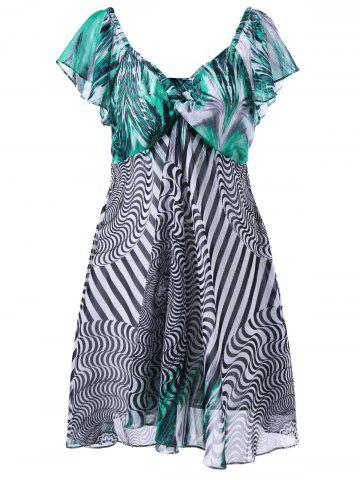 Fancy Plus Size Twist Bust Graphic Flowy Dress