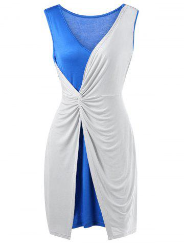 Chic Two Tone Twist Front Plus Size Sleeveless Dress