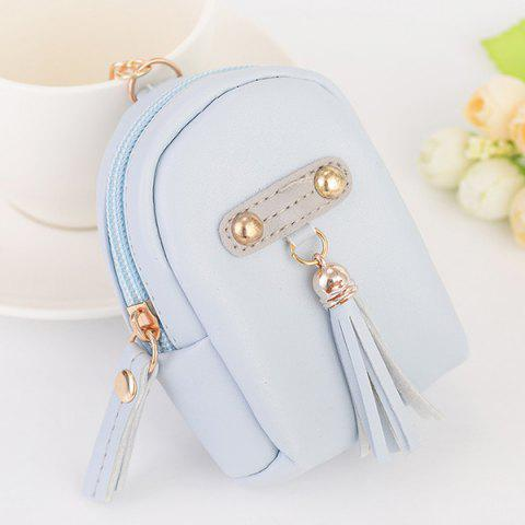 Faux Leather Tassel Coin Purse Key Chain Bleu clair