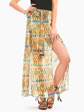 Outfits Snake Print High Slit Long Chiffon Skirt - XL LIGHT YELLOW Mobile