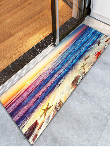 Beach Print Skidproof Flannel Soft Bathroom Rug - Colormix - W16 Inch * L47 Inch