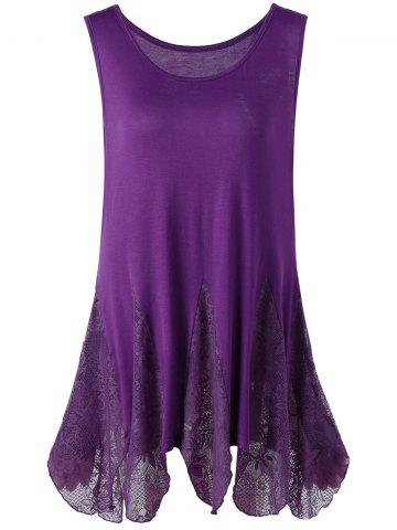 Chic Lace Trim Plus Size Handkerchief Tank Top PURPLE 4XL