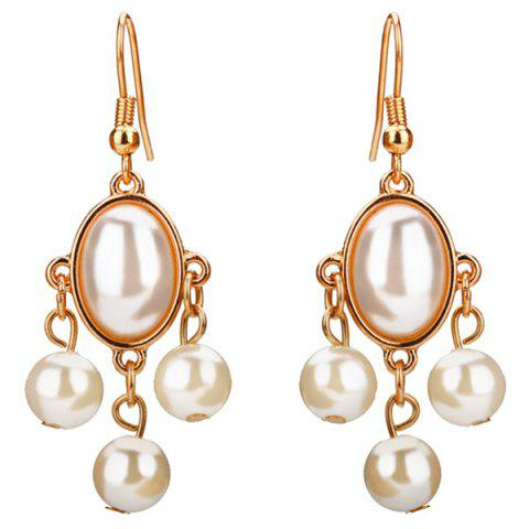 Artificial Pearls Pandant Dangling Earrings - White
