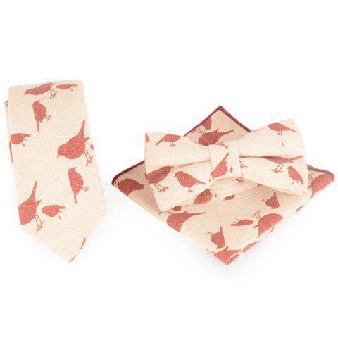 Outfit Cartoon Bird Printing Necktie Handkerchief Bowtie Set - FLAXEN  Mobile