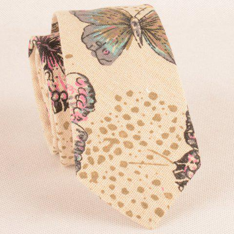 Outfits Butterfly Printing Necktie Handkerchief Bowtie Set - FLAXEN  Mobile