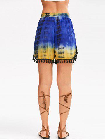 Trendy Tie Dye Print Tassel Beach Shorts - L COLORMIX Mobile