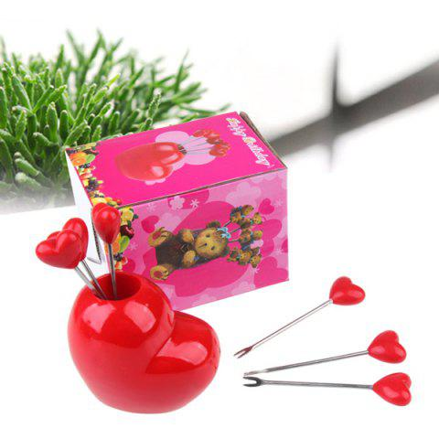 Outfit Cute Plastic Love Heart Stainless Steel Fruit Fork Set Novelty Gift - RED  Mobile