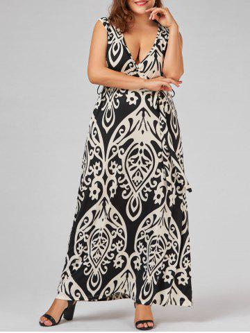 Affordable Plus Size Plunge Maxi Printed Prom Skater Dress