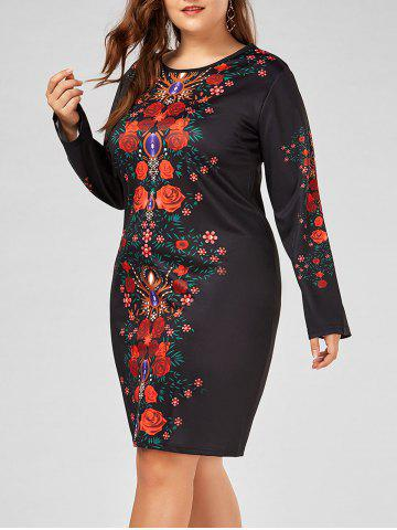 Hot Floral Printed Plus Size Long Sleeve Sheath Dress