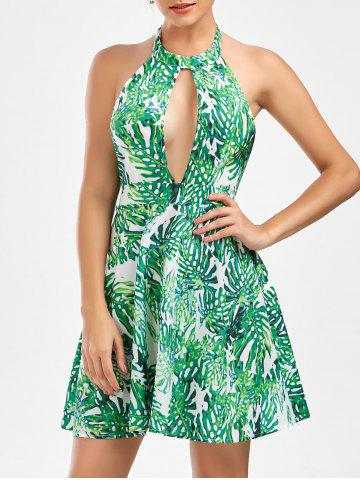 Cheap Leaf Print Halter Neck Backless Summer Dress GREEN S