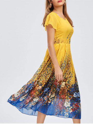 Casual Bohemian Floral Flowy Midi Dress - Deep Yellow - L