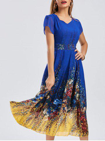 Best Casual Bohemian Floral Flowy Midi Dress BLUE XL