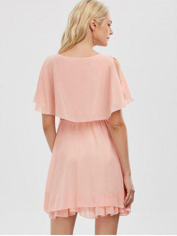 Trendy Chiffon Cold Shoulder Mini Summer Dress - L PINK Mobile