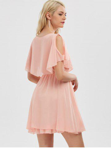Fancy Chiffon Cold Shoulder Mini Summer Dress - L PINK Mobile