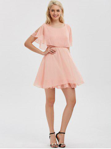 Shop Chiffon Cold Shoulder Mini Summer Dress - L PINK Mobile