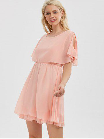 Fancy Chiffon Cold Shoulder Mini Summer Dress - XL PINK Mobile