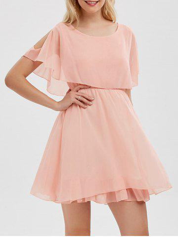 Fancy Chiffon Cold Shoulder Mini Summer Dress - 2XL PINK Mobile