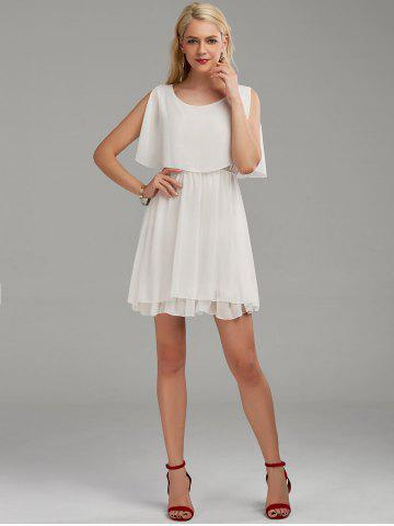 Best Chiffon Cold Shoulder Mini Summer Dress - 2XL WHITE Mobile
