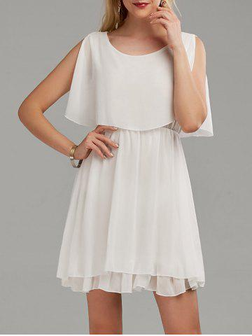 Hot Chiffon Cold Shoulder Mini Summer Dress - L WHITE Mobile