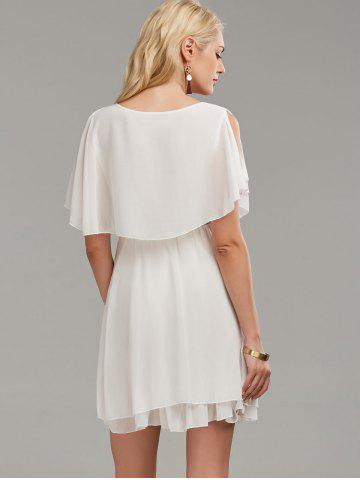 Outfit Chiffon Cold Shoulder Mini Summer Dress - M WHITE Mobile