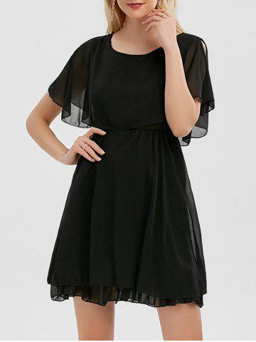 Trendy Chiffon Cold Shoulder Mini Summer Dress - M BLACK Mobile