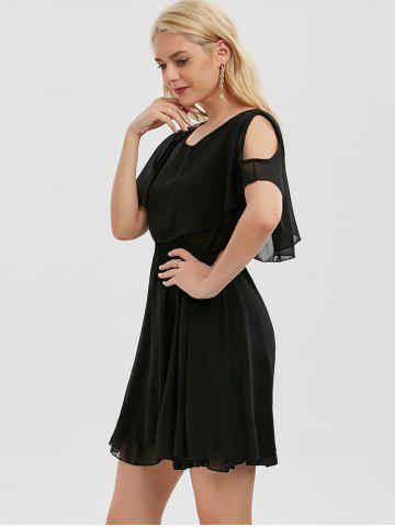 Buy Chiffon Cold Shoulder Mini Summer Dress - M BLACK Mobile