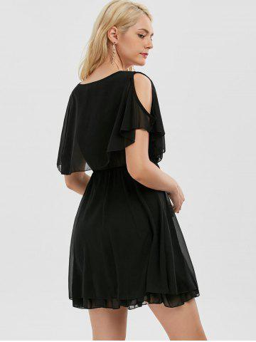 Unique Chiffon Cold Shoulder Mini Summer Dress - M BLACK Mobile
