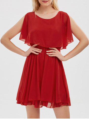Buy Chiffon Cold Shoulder Mini Summer Dress - 2XL RED Mobile