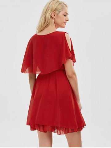 Discount Chiffon Cold Shoulder Mini Summer Dress - XL RED Mobile
