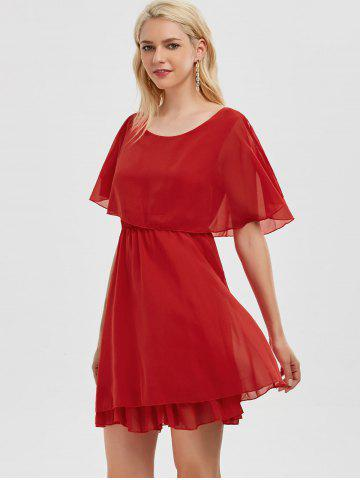 Best Chiffon Cold Shoulder Mini Summer Dress - XL RED Mobile