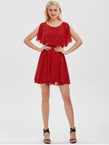 Outfits Chiffon Cold Shoulder Mini Summer Dress - XL RED Mobile