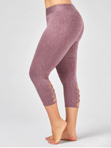 Latest Criss Cross Cutout Plus Size Capri Fitness Leggings PINKISH PURPLE 2XL