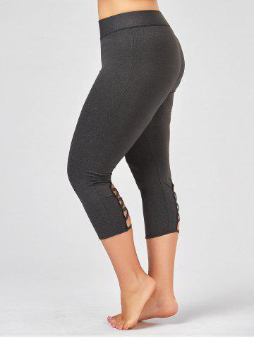 Sale Criss Cross Cutout Plus Size Capri Fitness Leggings DEEP GRAY 2XL