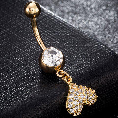 Hot Rhinestone Inlay Heart Shape Navel Button - GOLDEN  Mobile