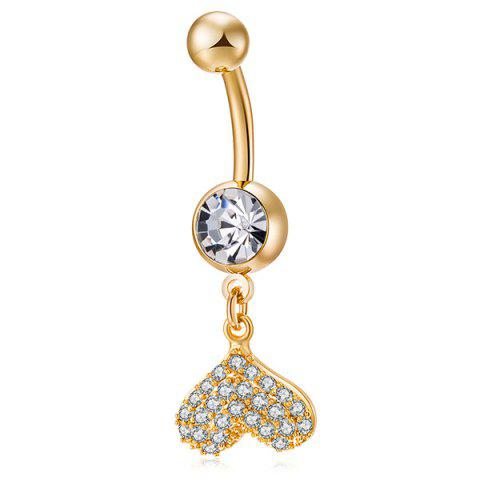 Buy Rhinestone Inlay Heart Shape Navel Button - GOLDEN  Mobile
