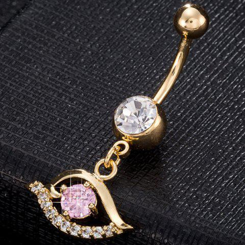 Shops Faux Gem Hollow Out Eye Navel Button - PINK  Mobile