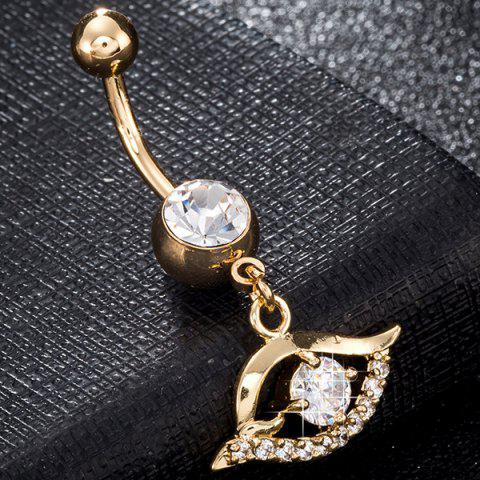 Shop Faux Gem Hollow Out Eye Navel Button