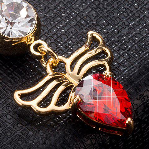Affordable Faux Gem Angel Wing Design Navel Button - RED  Mobile