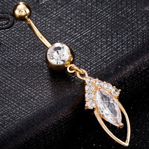Discount Rhinestone Hollow Out Fusiform Navel Button Jewelry - GOLDEN  Mobile